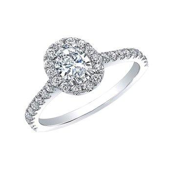 14k white gold 1/2 oval 1ctw diamond engagement ring