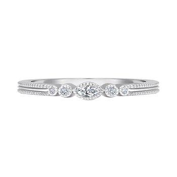 14k white gold .06ctw five diamond ladies fashion ring