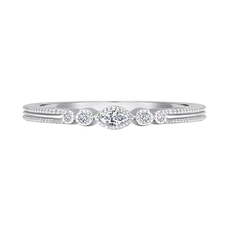 Greenberg's 14k white gold .06ctw five diamond ladies fashion ring
