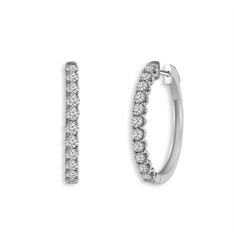 Greenberg's 10k white gold hoop earrings