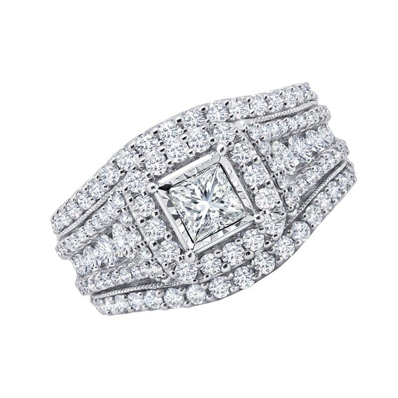 Greenberg's 14k white gold 2.00ctw 1/2 princess cut engagement ring