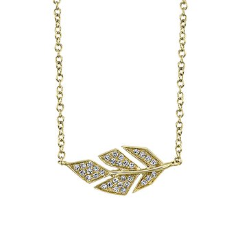 "14K Yellow Gold 0.08ctw Diamond Leaf Necklace with attached 14K YG 15""-18"" Rolo Chain"