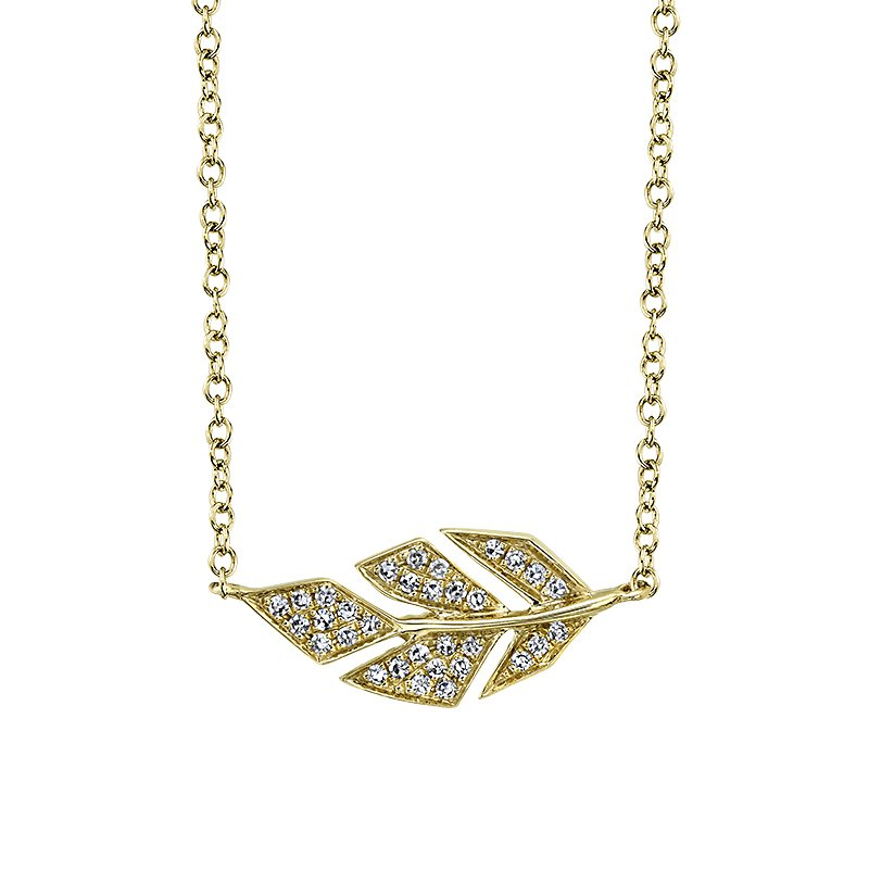 """Shy Creation 14K Yellow Gold 0.08ctw Diamond Leaf Necklace with attached 14K YG 15""""-18"""" Rolo Chain"""