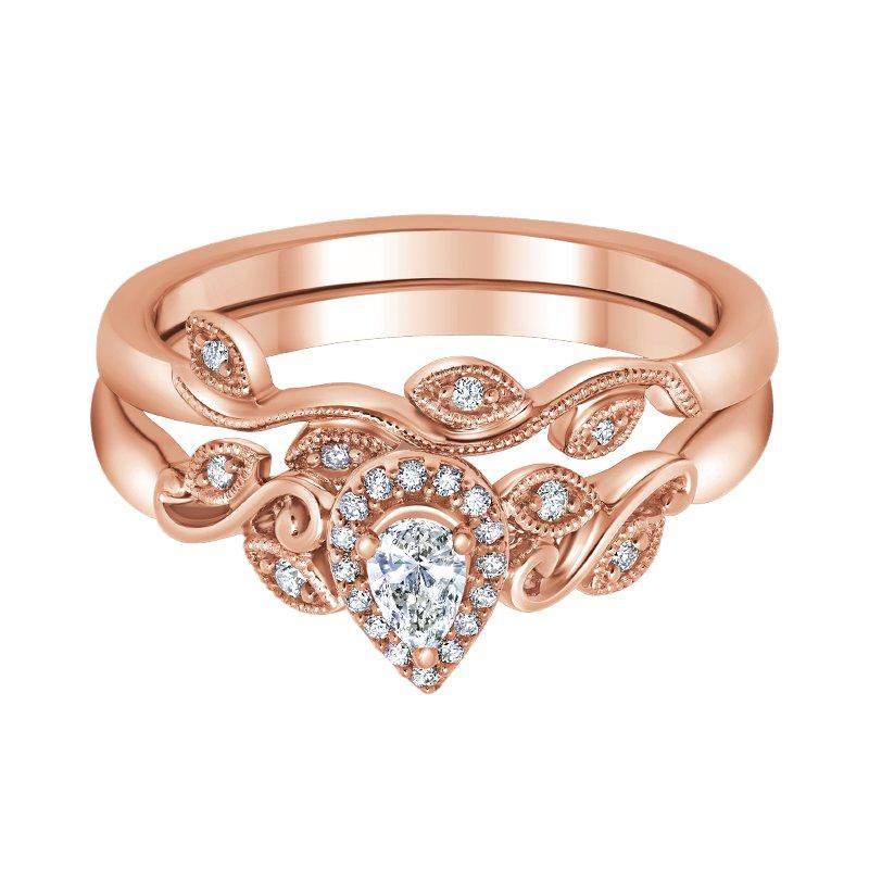 Greenberg's 10k rose gold 1/4ctw pear-shaped diamond bridal set
