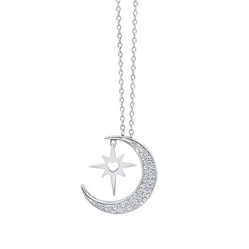 sterling silver .05ctw moon star pendant