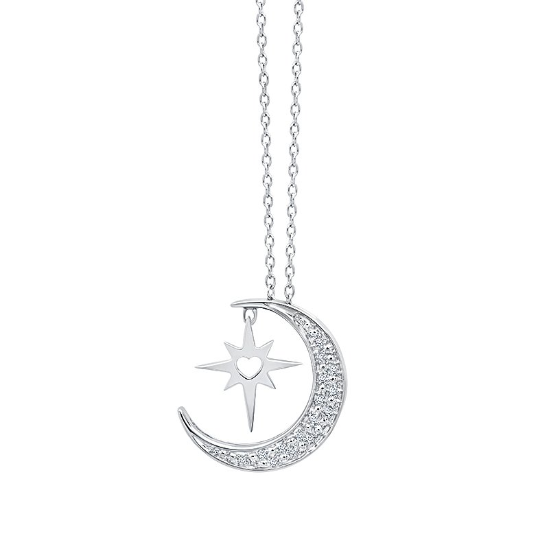 Greenberg's sterling silver .05ctw moon star pendant