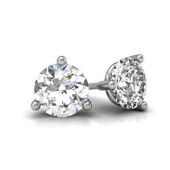 3/4 round stud diamond earrings