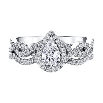 TORY 14K WG 1ctw 0.40ct PS Center Diamond Bridal Set: Promise Collection by  Love Story®