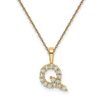 """14k yellow gold initial """"Q"""" pendant with chain"""
