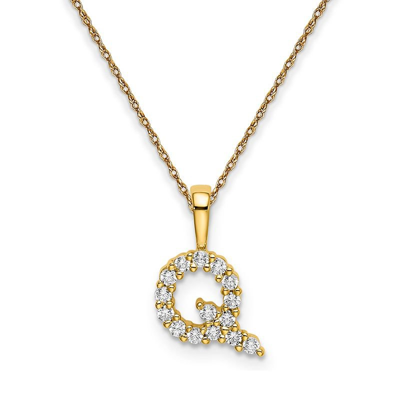 """Greenberg's 14k yellow gold initial """"Q"""" pendant with chain"""