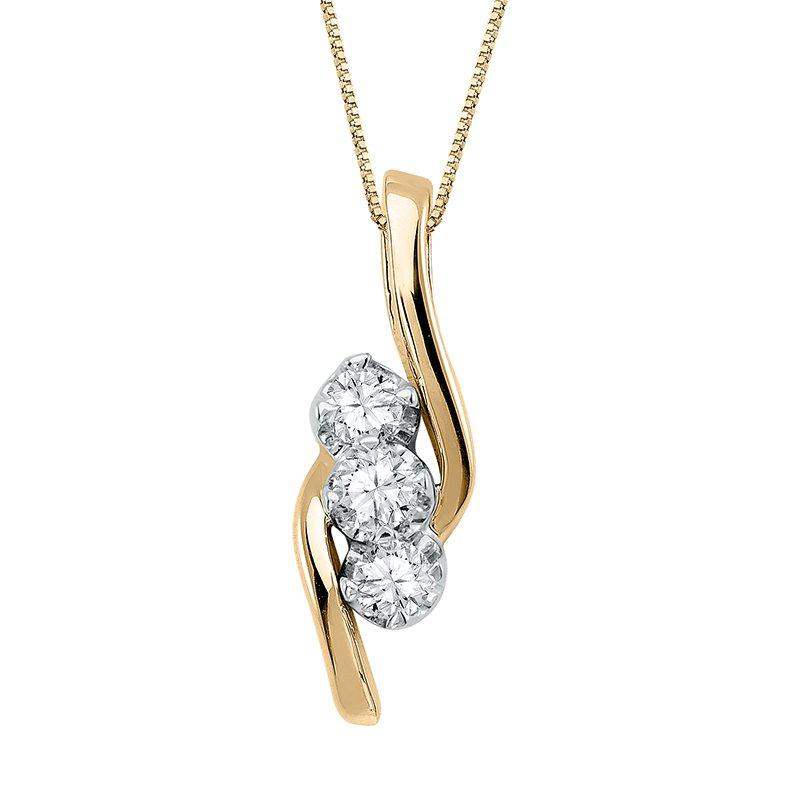 Greenberg's 14k yellow gold Sirena three-diamond fashion pendant
