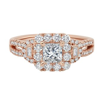 14k rose gold 3/4ct princess cut engagement ring
