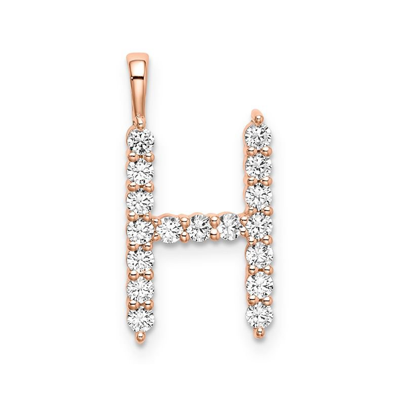 """Greenberg's 14k rose gold initial """"H"""" pendant"""