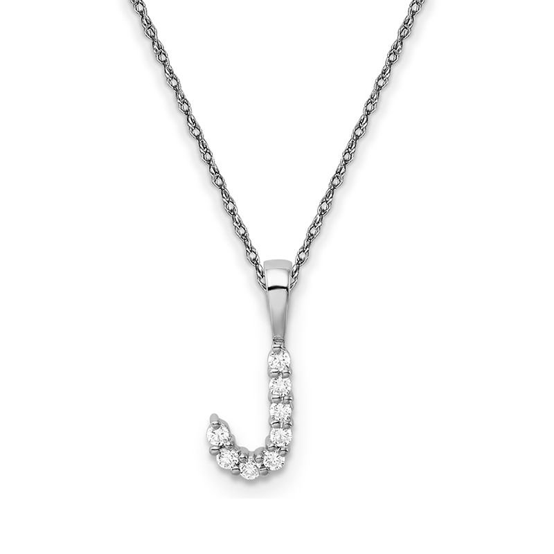 """Greenberg's 14k white gold initial """"J"""" pendant with chain"""