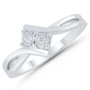 sterling silver two-stone reflection ring
