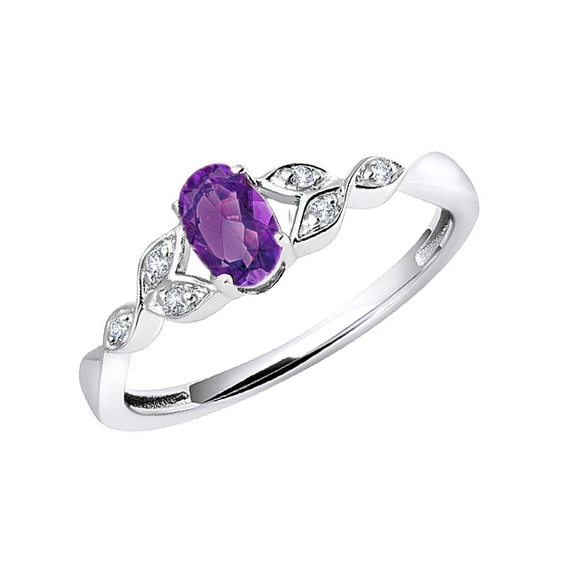 Greenberg's sterling silver created amethyst oval diamond ring