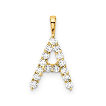 """14k yellow gold initial """"A"""" pendant"""