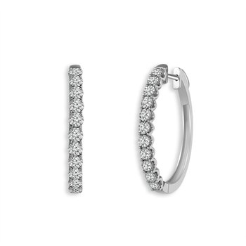 14k white gold 1/4ctw diamond hoop earrings