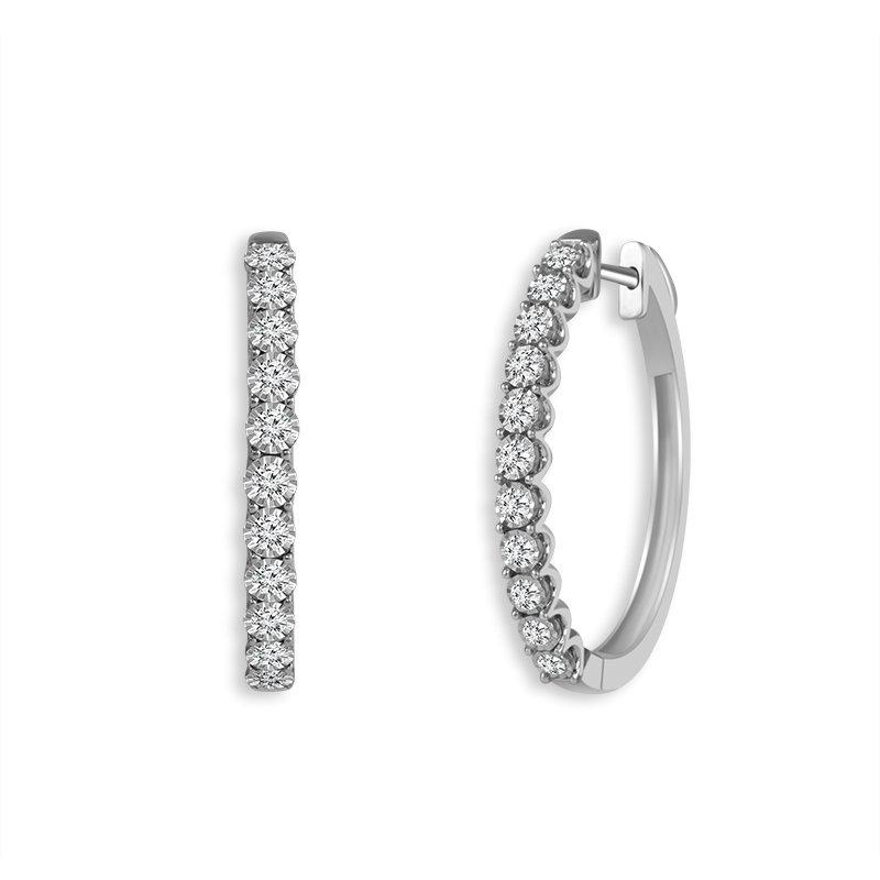 Greenberg's 14k white gold 1/4ctw diamond hoop earrings