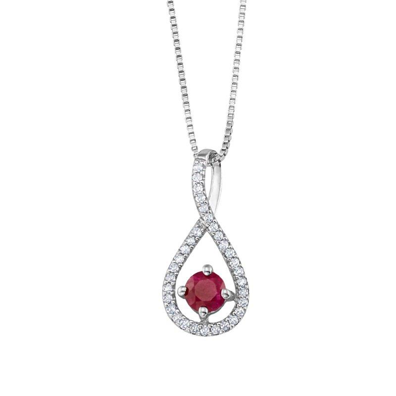 Greenberg's sterling silver .10ctw ruby swirl pendant