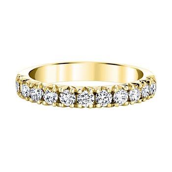 14k yellow gold 3/4ctw diamond fishtail wedding band