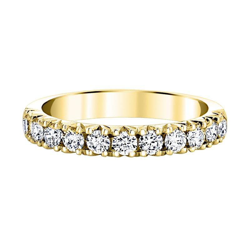 Greenberg's 14k yellow gold 3/4ctw diamond fishtail wedding band