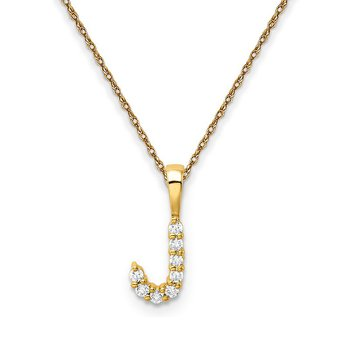 """14k yellow gold initial """"J"""" pendant with chain"""
