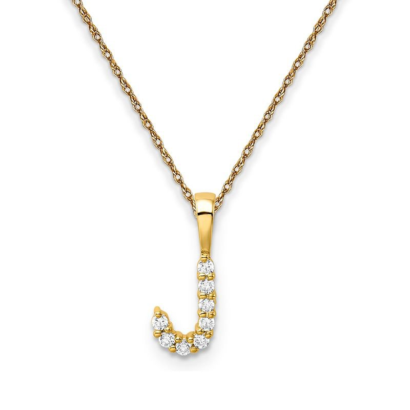 "Greenberg's 14k yellow gold initial ""J"" pendant with chain"