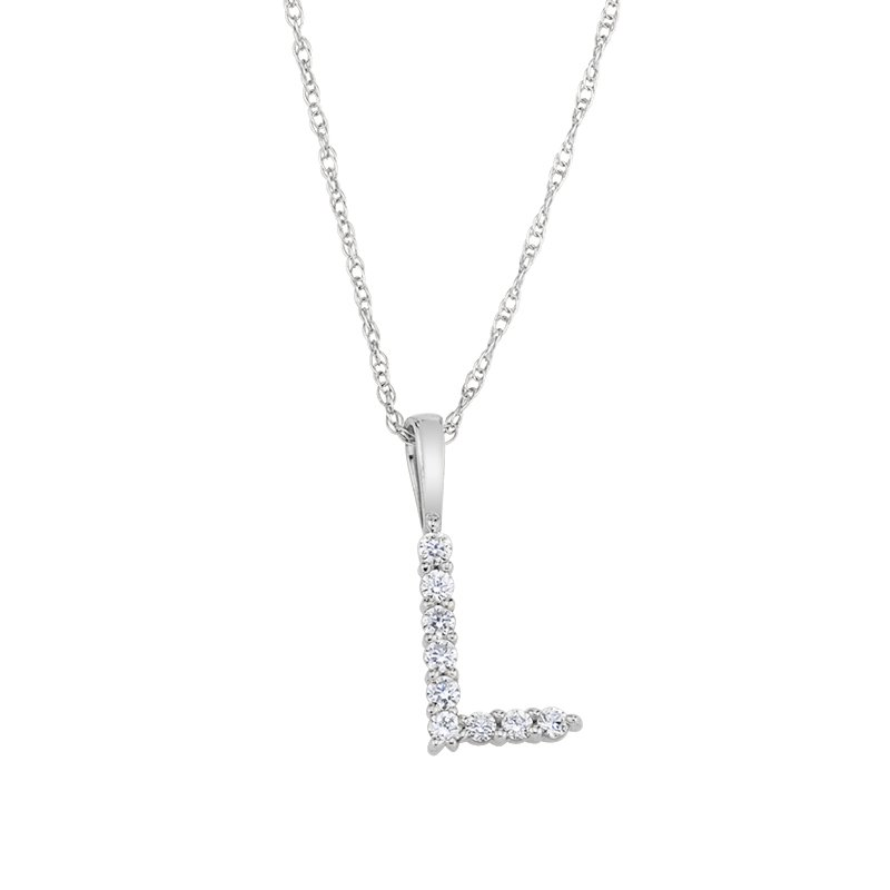 """Greenberg's 14k white gold """"L"""" initial pendant with chain"""