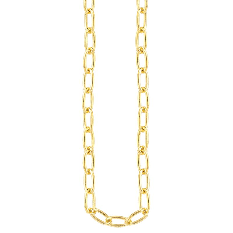 """Greenberg's 14k yellow gold paperclip long link fashion necklace 20"""""""