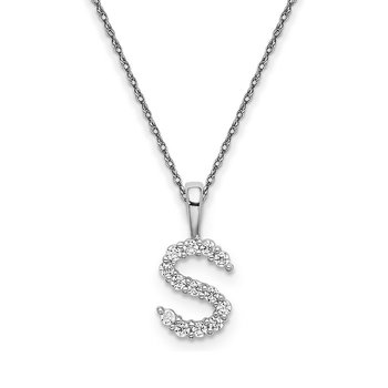 "14k white gold initial ""S"" pendant with chain"