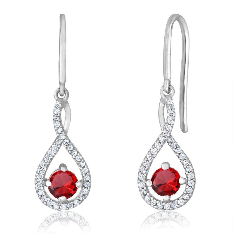 Greenberg's sterling silver and diamond garnet drop earrings