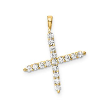 "14k yellow gold initial ""X"" pendant"