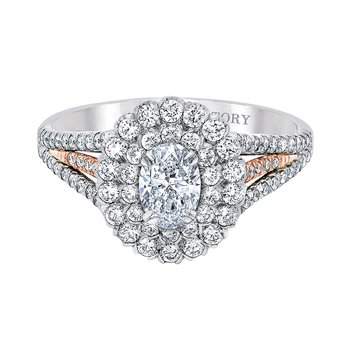 14k white and pink gold 1-1/4ctw 1/2ct oval diamond engagement ring
