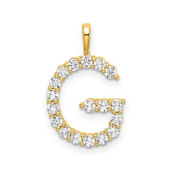 """14k white gold initial """"G"""" pendant"""
