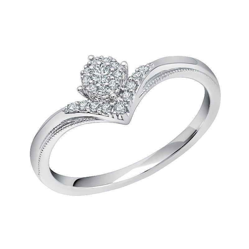 Greenberg's 10k white gold 1/8ctw diamond promise ring