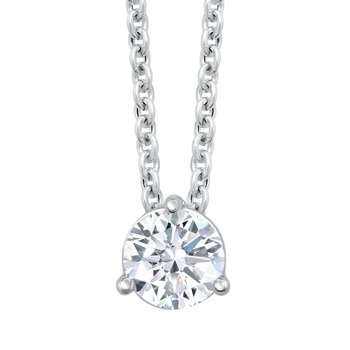 14k white gold 1/2ctw 3-prong diamond pendant