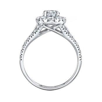 14k white gold 3/4 oval center diamond engagement ring