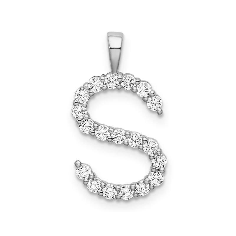 "Greenberg's 14k white gold initial ""S"" pendant"