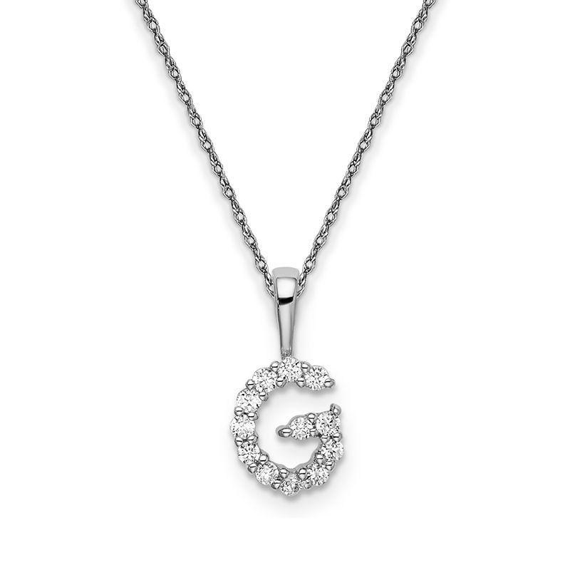 """Greenberg's 14k white gold initial """"G"""" pendant with chain"""
