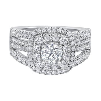 14k white gold 1.04ctw diamond engagement ring