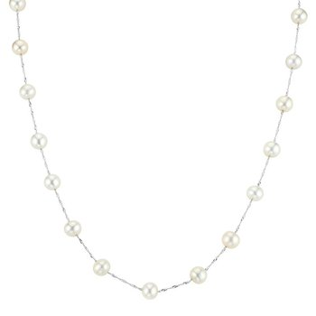 14k white gold necklace with white freshwater pearls