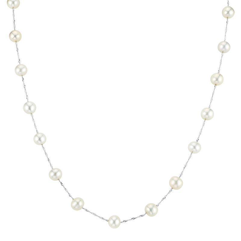 Greenberg's 14k white gold necklace with white freshwater pearls