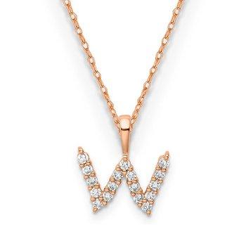 """14k rose gold initial """"w"""" pendant"""
