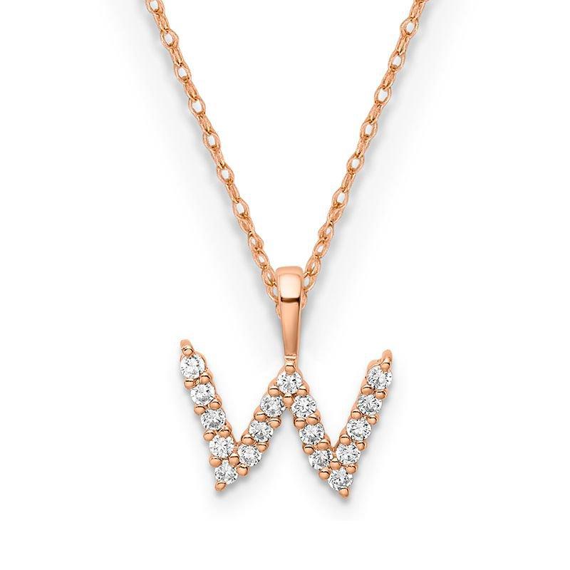 "Greenberg's 14k rose gold initial ""w"" pendant"