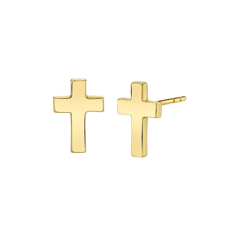 Greenberg's 14k yellow gold fashion cross earrings