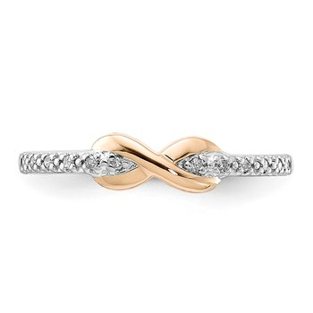 sterling silver and 10k rose gold infinity teen ring