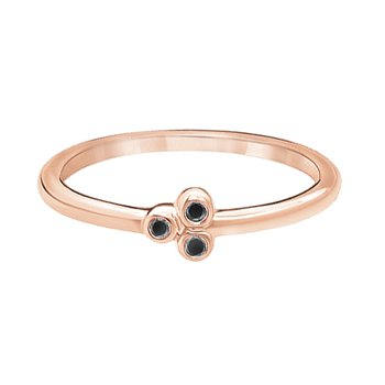 10k pink gold three-enhanced black diamond fashion ring