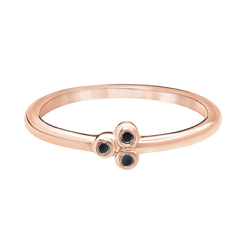 Greenberg's 10k pink gold three-enhanced black diamond fashion ring