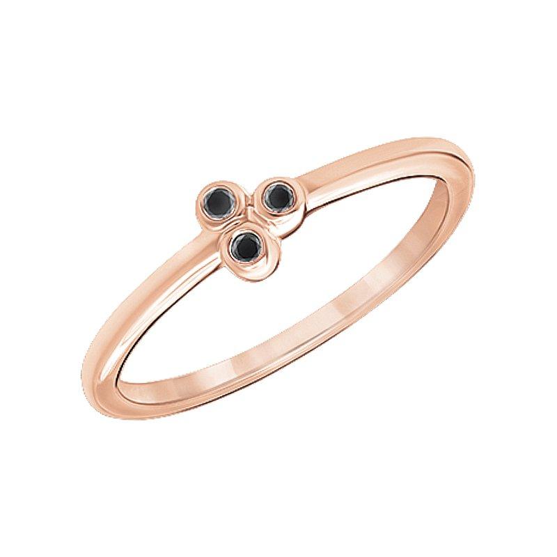 Greenberg's 10k pink gold three-enhanced black diamond fashion ring
